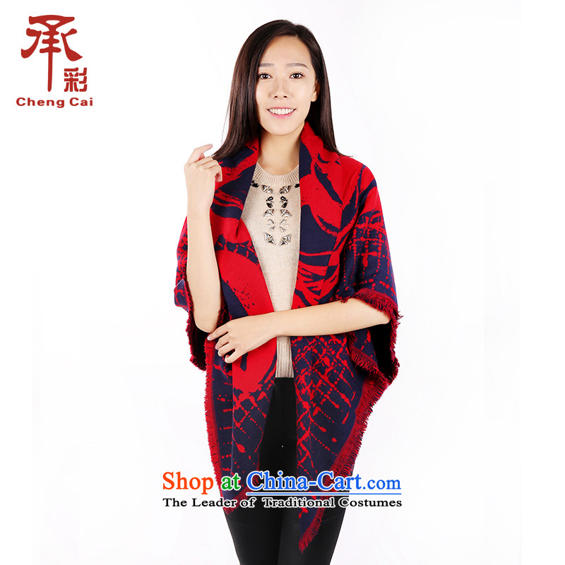 The color of the scarf female autumn and winter Stamp Reinforcement of ethnic Fancy Scarf two places with a chanting - Red