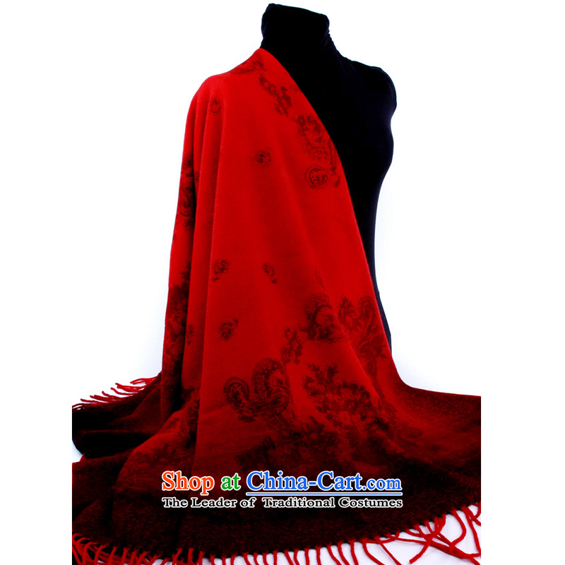 Hengyuan Cheung wool thick gradient Ms. stamp party shawl (Boxset) Red