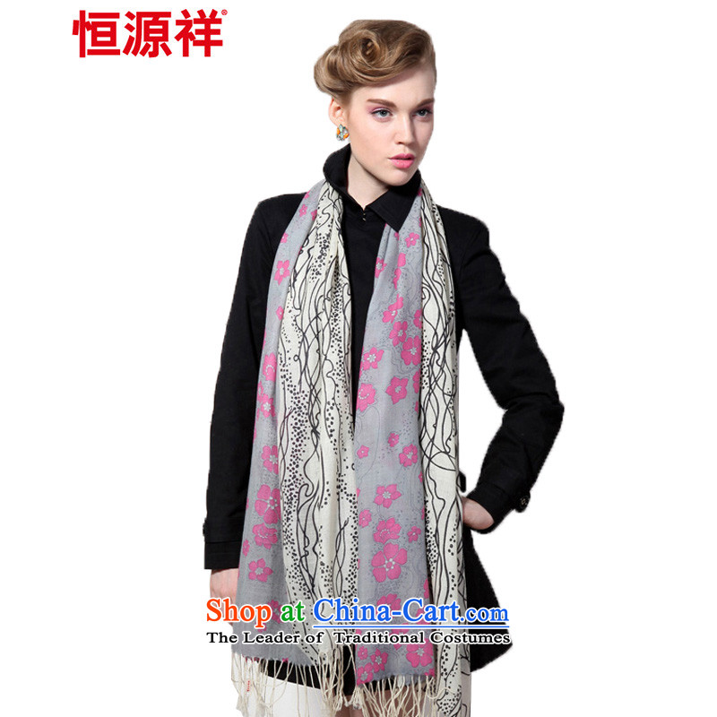 Hengyuan Cheung wool Ms. stamp long scarf gifts _Boxset_ romantic Snow White Gray