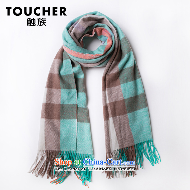 Wooler scarf girl English Ms. wind latticed scarf autumn and winter oversized Thick Long Maxi Fancy Scarf4313mint green