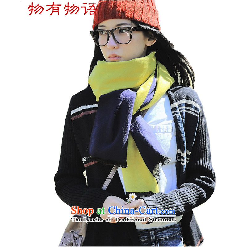 With the end of the scarf Monogatari female 2015 autumn and winter new compact arts two-sided color plane collision thick scarf spell color girl Huang Navy 70*200cm shawl