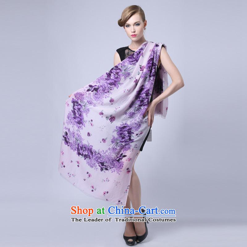 Hengyuan Cheung Australia wool merino wool yarn Ms. high long Fancy Scarf4313autumn and winter gifts (Boxset) wool sweater,a twill stamp Purple