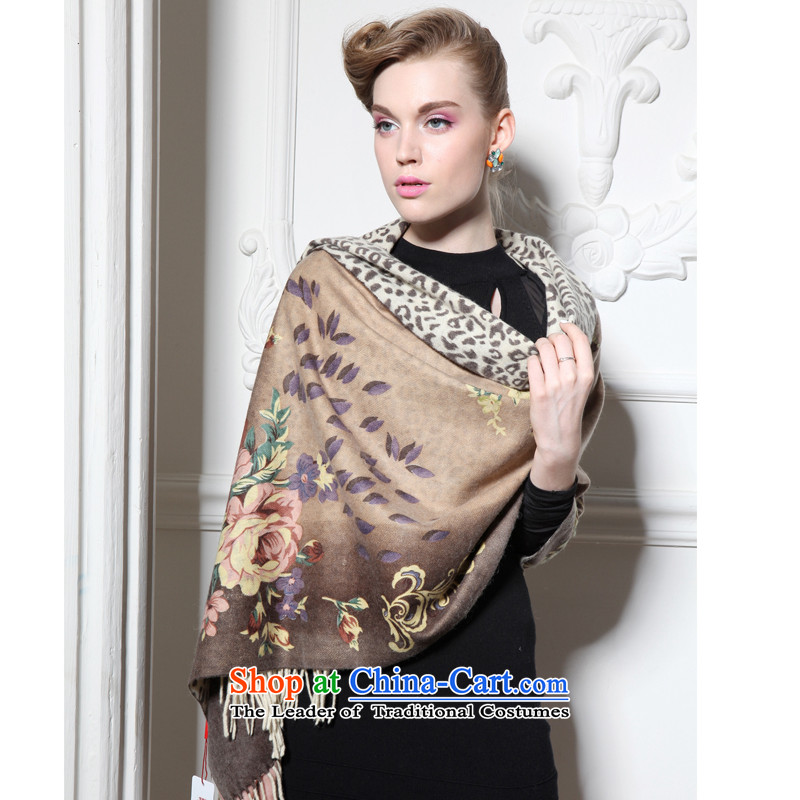 Hang Yuen Cheung-long Fancy Scarf duplex stamp air-conditioning shawl gifts _Boxset_ wool cashmere texture duplex roses brown