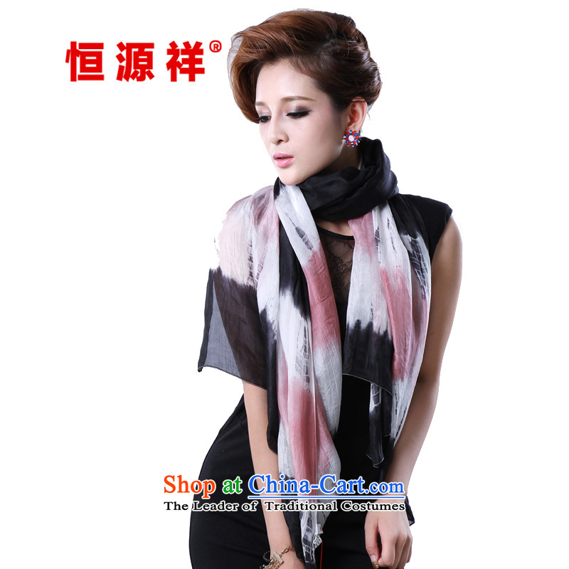 Hengyuan Cheung herbs extract hand-painted Ms. tie-dye long silk scarf (Boxset) black and color