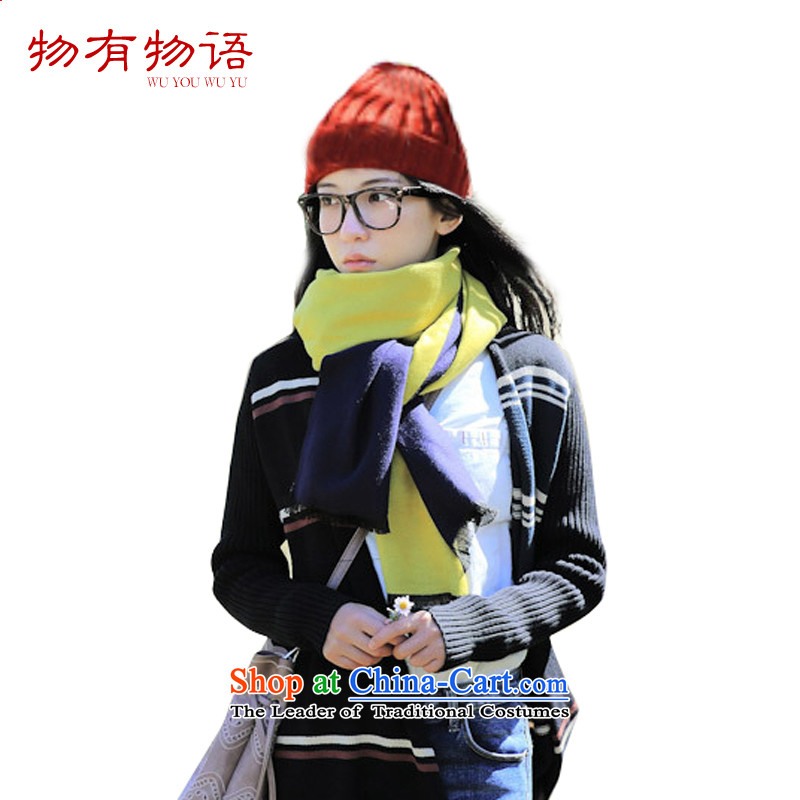 With the end of the scarf Monogatari female winter thick 2015 autumn and winter new minimalist art duplex color plane collision Fancy Scarf spell a color female navy70*200cm Wong