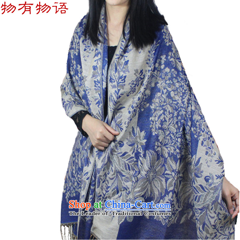 With the end of the scarf Ms. Monogatari autumn and winter wind jacquard stream Nation Su shawl thick long air-conditioning shawl grape - Blue