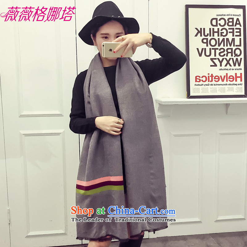 Weiwei Grid Natasha Europe of autumn and winter emulation cashmere duplex color streaks scarf warm shawl two female AA1556 with light gray