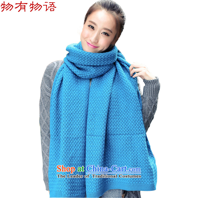 The property of the Korean version of the solid color shading Knitting scarves corn female autumn and winter Ms. stylish warm knitting, knitting a blue204_52cm Lake