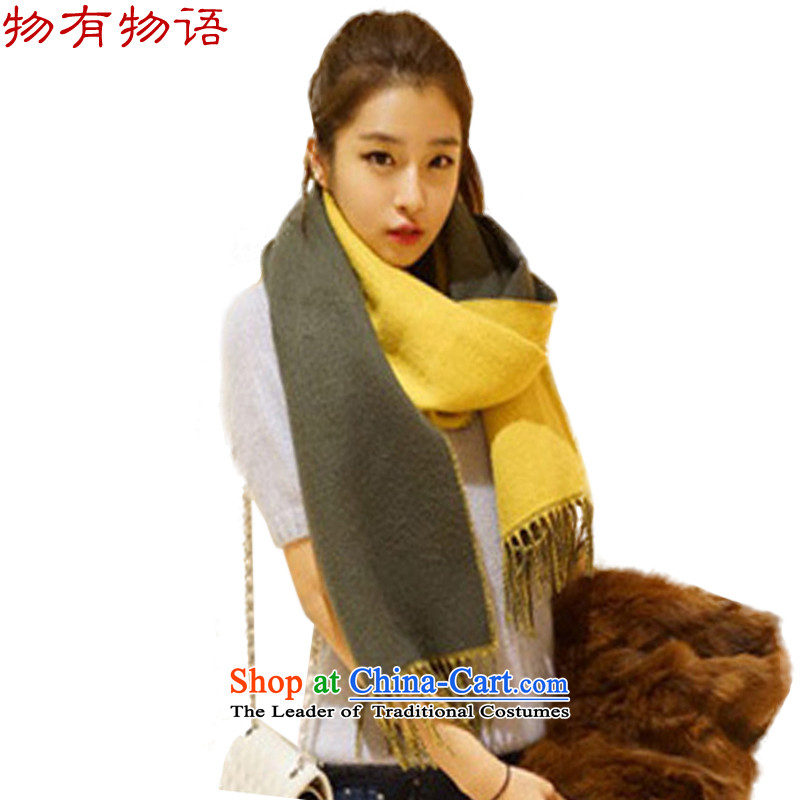 With the end of the scarf Monogatari female autumn and winter new two-sided color flow su wool knocked polester velvet shawl lovely thick solid color with two yellow + Gray 50*220