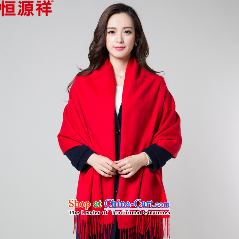 Hengyuan Cheung wooler scarf female autumn and winter thick solid-colored neckerchief warm longer a shawl two red