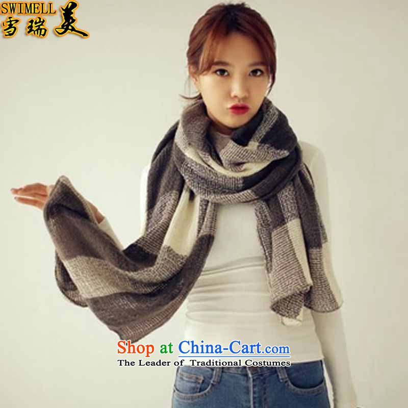 The snow-shui 2015 new Korean Knitting scarves knitted cardigans and two to ultra-long Cashmere scarf Ms. a checkered winter 126 Figure Color Code