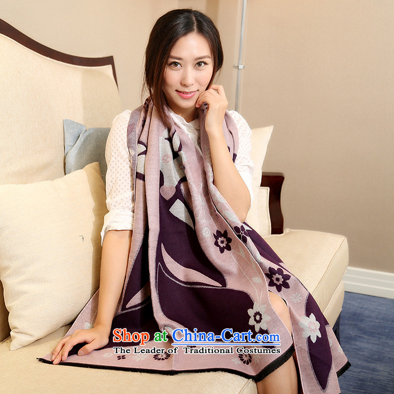 In 2015, Europe and the autumn and winter in the thick of the emulation of the Cashmere scarf lovely female stamp civet series two large shawl jacket package mail light violet