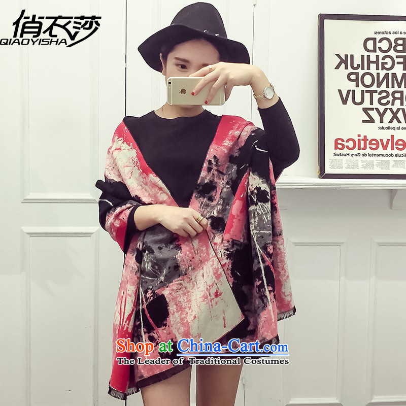 For Europe and the autumn and winter clothing Windsor Ms. new emulation pashmina shawl warm double-sided printing two QA1552 with red 190*65cm