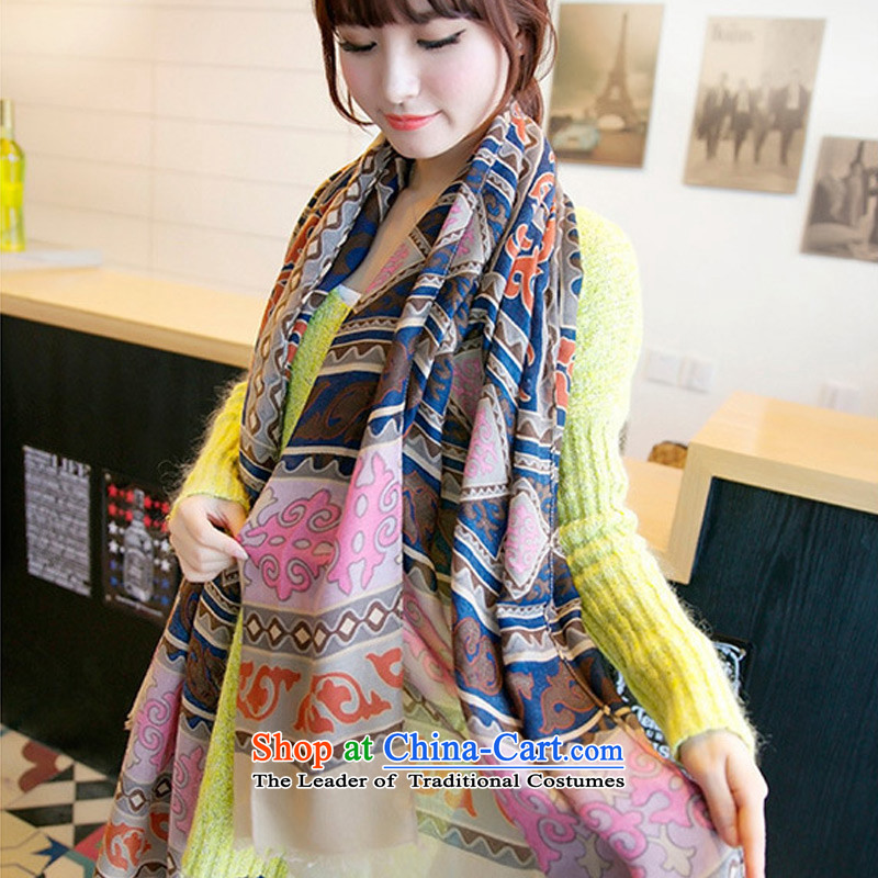 2015 Autumn and winter TAOYEE new ethnic Cotton Twill Turkey exotic floral arts knocked color totems scarf Picture Color