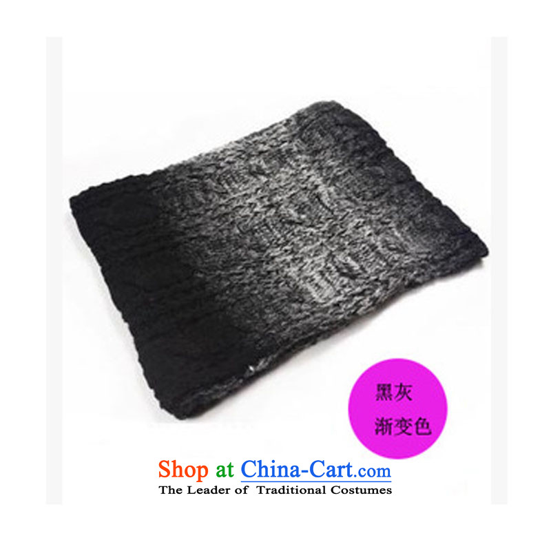 2015 new Korean-color gradient knocked twist long female couple scarves knitted scarf warm thick black gray gradient-Package
