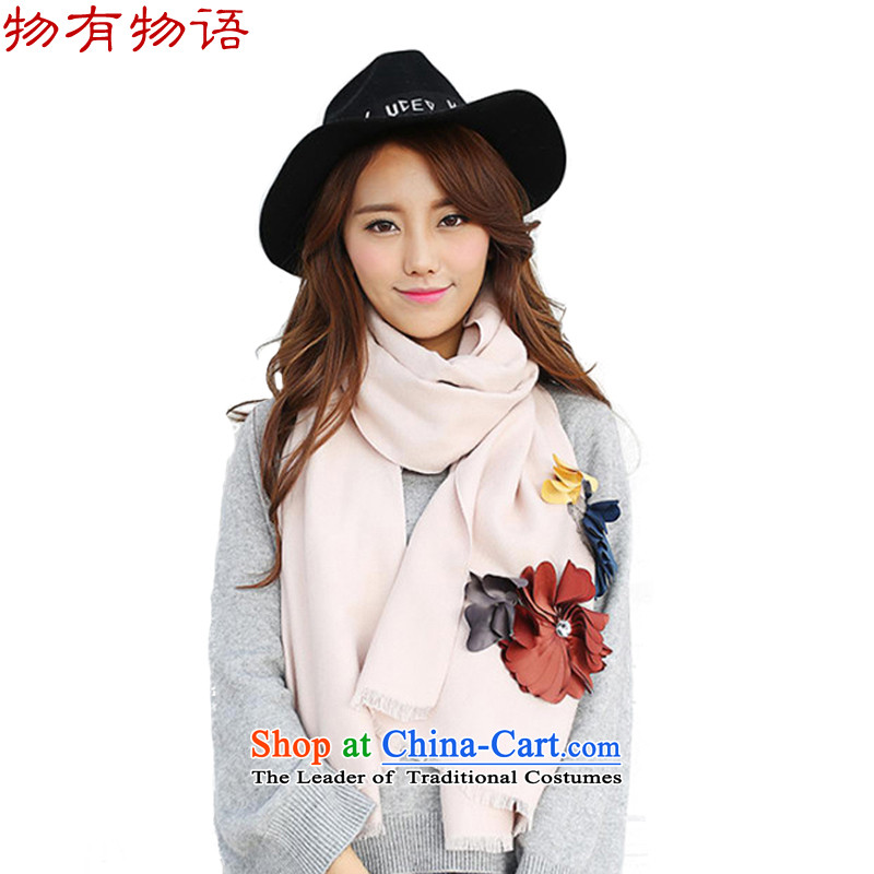 With the end of the scarf Monogatari female autumn and winter Western New 3D thoughtful spend emulation cashmere pure colors with fresh arts scarf shawl beige