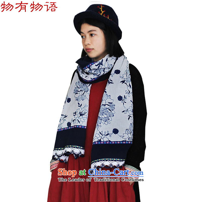 There is a property of ethnic Chinese embroidery scarf autumn and winter new women cape pieces of cloth scarf40*200cm a blue