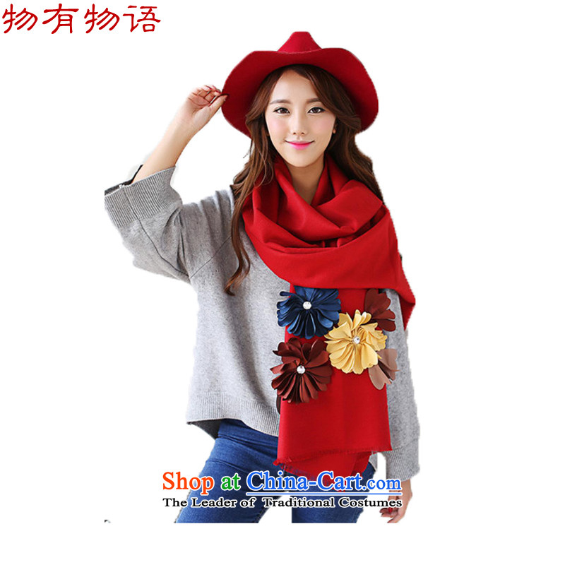 With the Chinese Female pashmina western autumn and winter new 3D thoughtful spend emulation cashmere pure color arts fresh Fancy Scarf two red