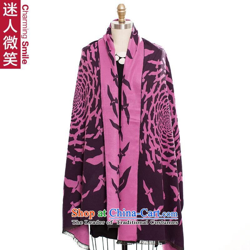 The charming smile Europe of autumn and winter, double-sided printing large shawl scarf use two thick warm female gems Purple