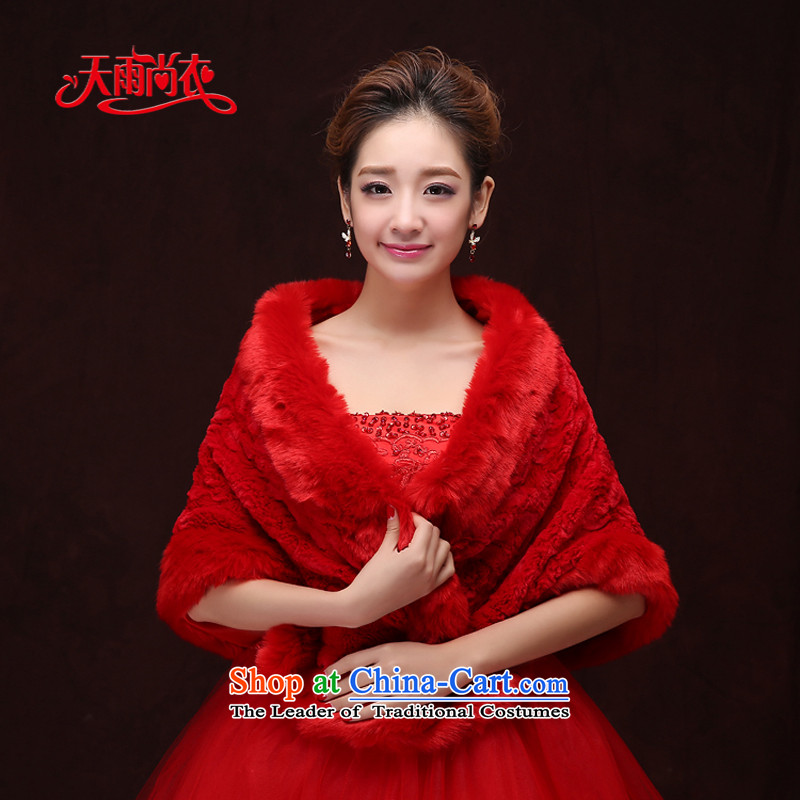 Rain-sang Yi marriages winter 2015 new wedding white fur coat warm Red Shawl PJ0106 spaniel increase red