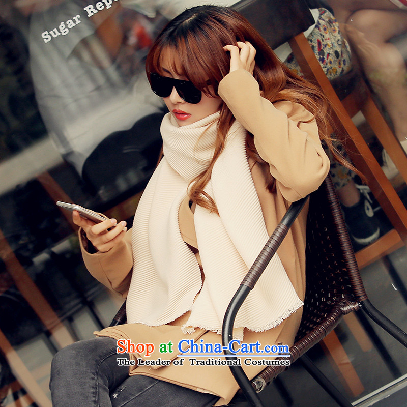 Ms. Femme Fatale Fox scarves small autumn and winter shawl emulation cashmere twill solid color scarf long warm beige
