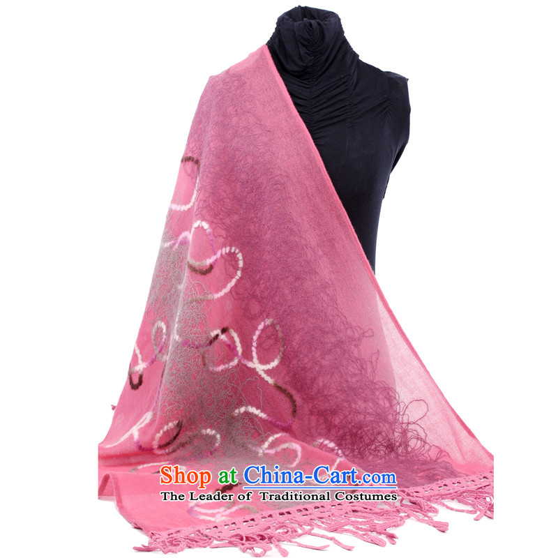 Hang Cheung wool disc source Ms. shawl embroidered air-conditioning shawl _Boxset_ _pink edging