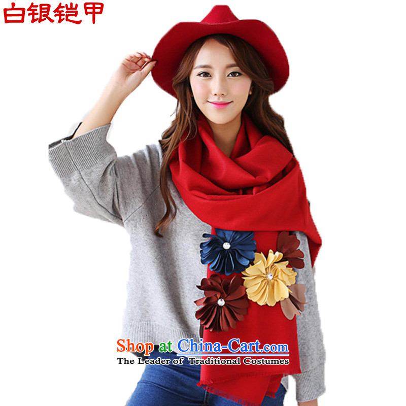 Silver armor scarf female autumn and winter new Ultra 3D spend a relaxing pure colors carnally arts Fresh Red Shawl-498a scarf
