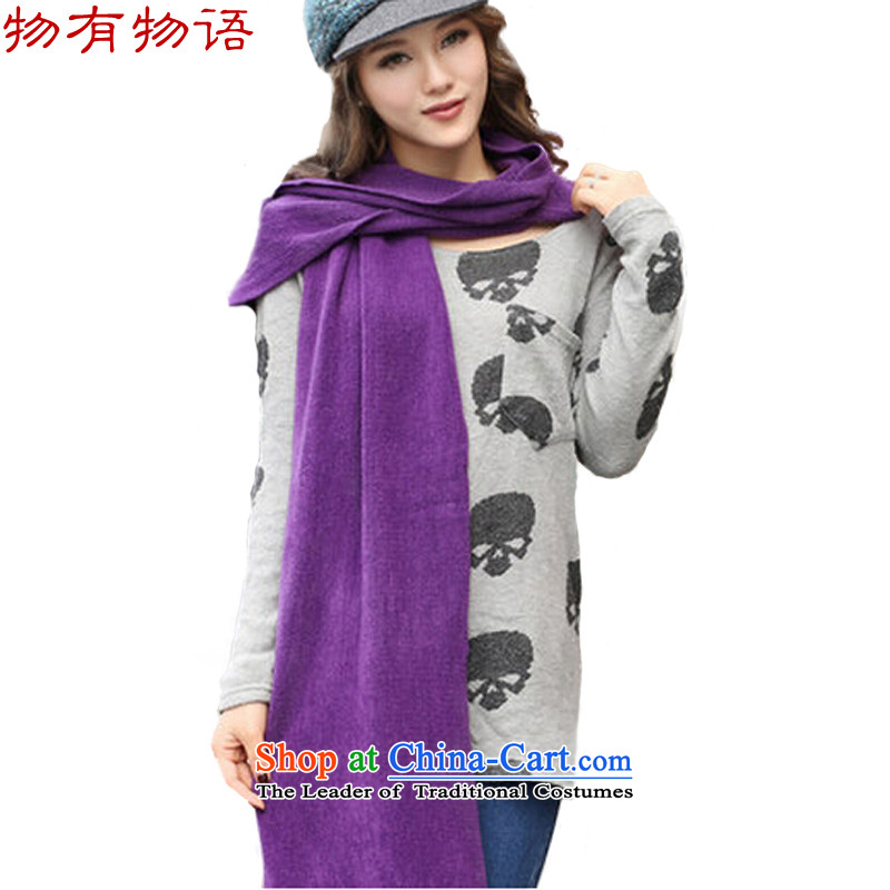 With the end of the scarf female Korean Chinese version of autumn and winter Knitting scarves knitted Ms. long large shawl two men with a Thick Purple30_220 students