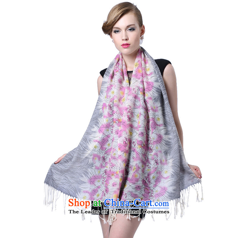 Hengyuan Cheung wool Ms. stamp long scarf gifts _Boxset_ along the banks of the gray powder flowers floral gray powder