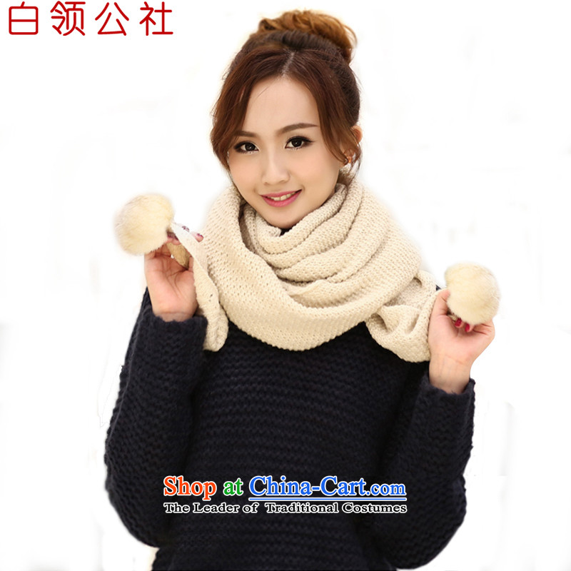 White-collar Ms. Corporation Korean winter scarves new fall WINTER HAT warm scarf lovely rabbit hair ball solid color knitting sweater knit a beige are code