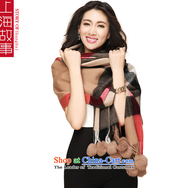 Shanghai Story latticed scarf Pure wool, and fur Ms. D. autumn and winter so thick large shawl gross and color