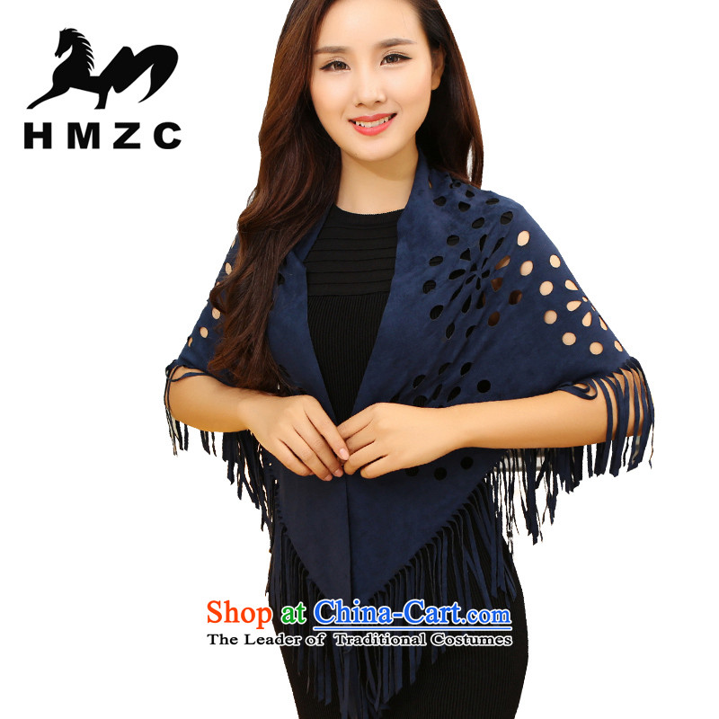 Chamois Velvet scarf HMZC female triangular shawl edging scarves engraving large shawl, spring and autumn blue