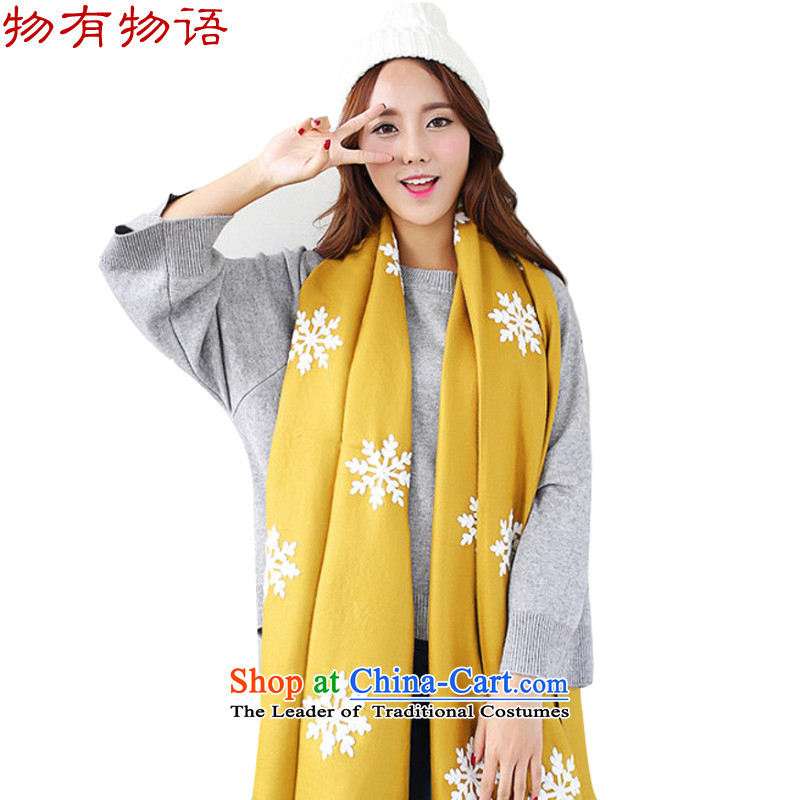 With the end of the scarf Monogatari girl of autumn and winter Korean New retro arts young women snowflake pure color long wild cotton linen snowflake handkerchief also Navy