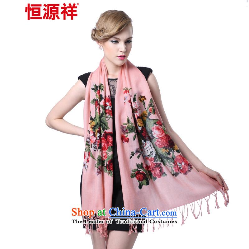 Hang Yuen Cheung-Worsted Ms. Australian wool long scarf _Boxset_ peony flowers Pink