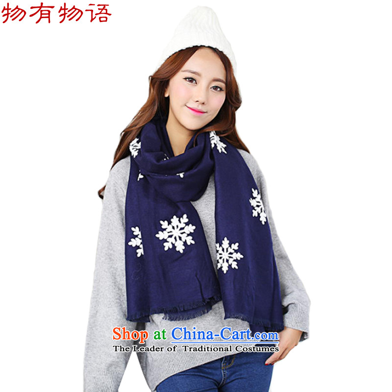 With the end of the scarf girl won the Chinese version of the new arts young women snowflake retro pure color long wild cotton linen snowflake handkerchief also Navy