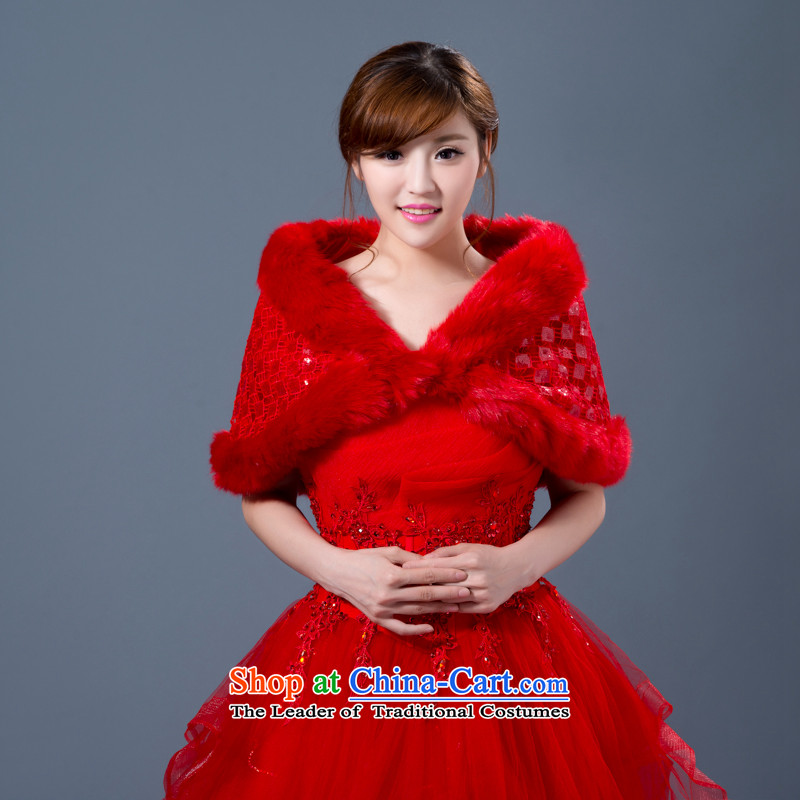 The new bride wedding dresses qipao outside marriage shawl ground bridesmaid evening edging shawl winter thick warm