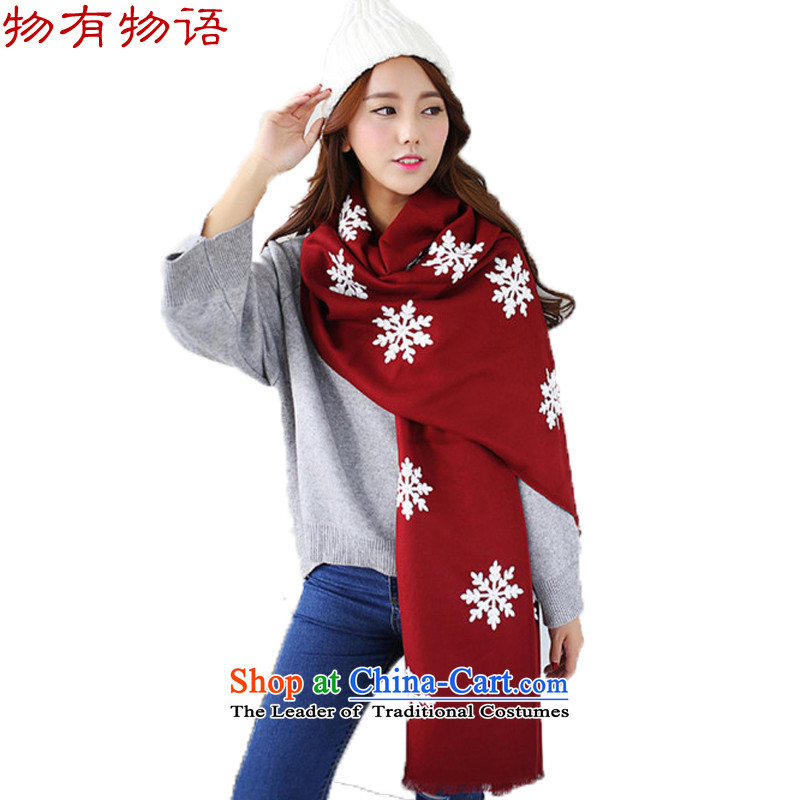 With the end of the scarf Monogatari female winter new Korean literature and art nouveau new young women snowflake pure color long wild cotton linen snowflake handkerchief also bourdeaux