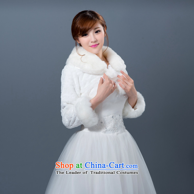 Wedding dress gross shawl warm marriage ceremony of the bride shawl thick long-sleeved jacket bridesmaid shawl, white winter