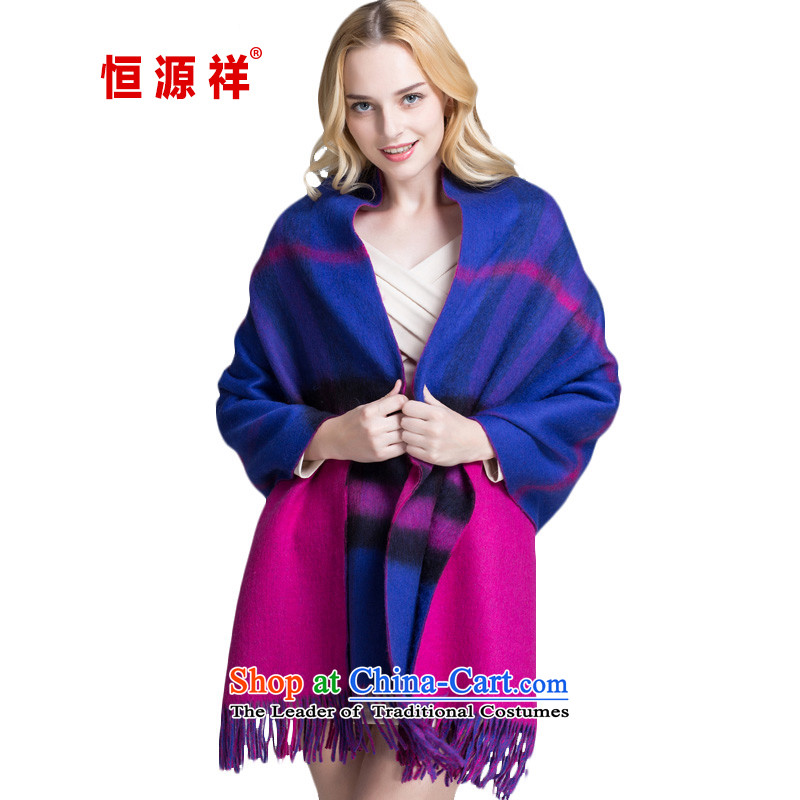 Hang Cheung New Source for autumn and winter wool Fancy Scarf two with women Thick Long latticed scarf oversized warm winter聽100PJ-11-1 a better blue