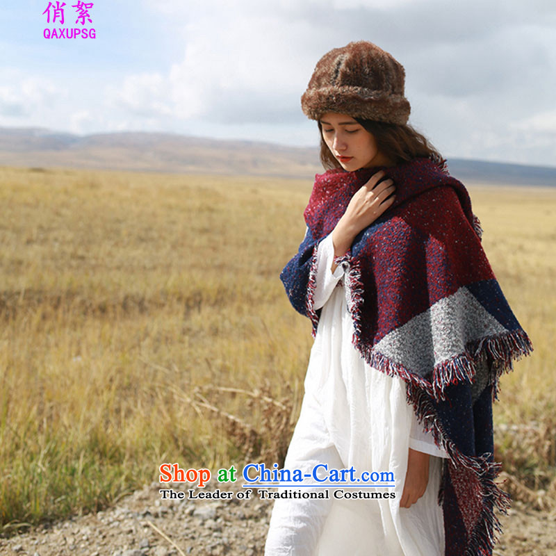 For autumn and winter arts van wadding ethnic emulation cashmere edging oversized color grid shawl thick warm scarf 8073# angled wine red