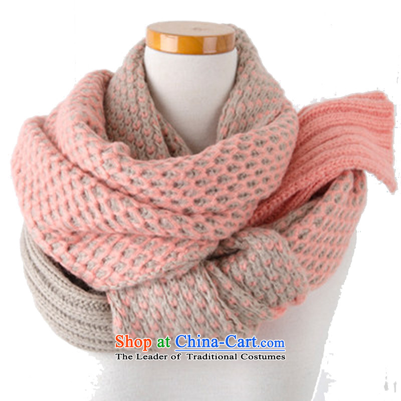 The Korean version of Autumn and Winter Sweater scarf winter thick Korean winter female couple knitting students a warm pink
