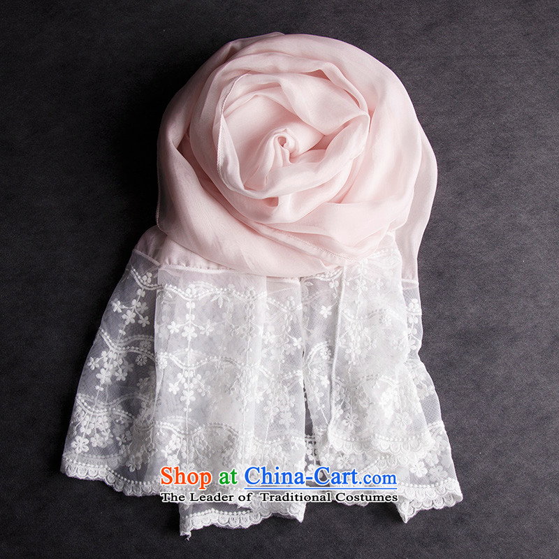 Oguston, 2015 New won the autumn and winter leisure wild herbs extract silk scarf embroidery lace stitching silk scarfs Pink