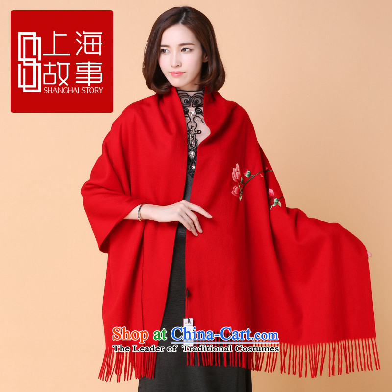 Shanghai Story cashmere shawls Kompass Meena Magnolia embroidered manual two-sided embroidered's crowning glory cashmere shawls edging embroidered red are code