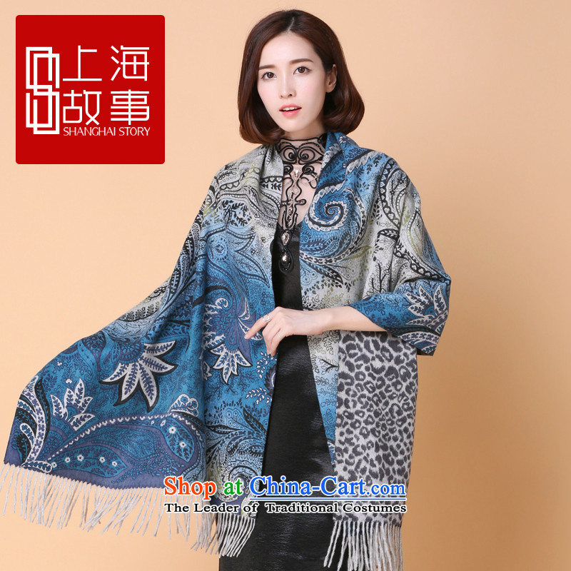 2015 Autumn and winter new products Shanghai Story counters genuine stylish /pashmina shawl long wool scarf glass impression impression - blue glass