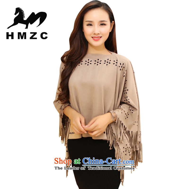 The Korean version of the girl-HMZC large shawl scarf edging engraving Chamois Velvet cloak female spring and autumn replacing nude