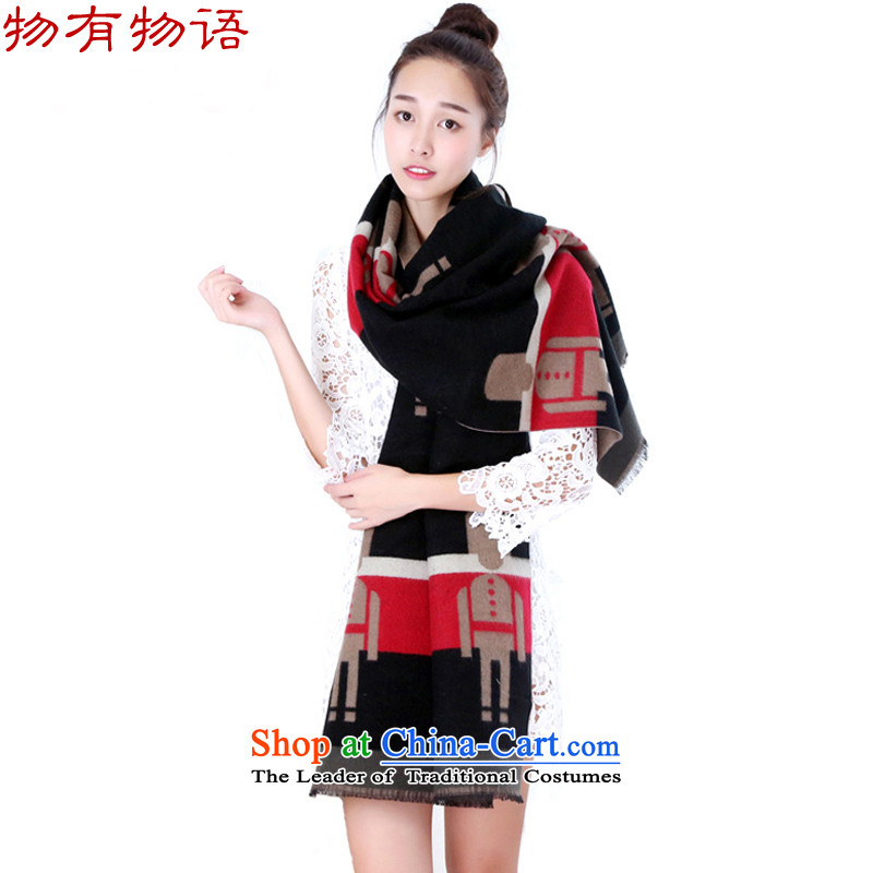 With the end of the scarf female autumn Monogatari Ms. winter version won warm color spell the end of the scarf duplex handkerchief history with black200*65 two shawls