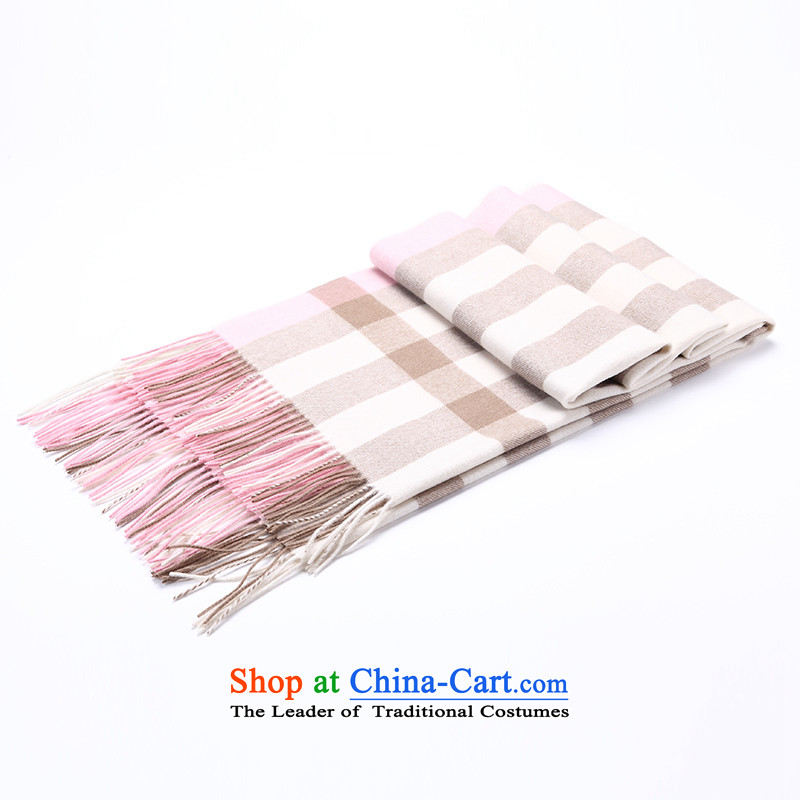 Ms. Cheung Hengyuan wool large shawl autumn and winter new thick Classic Grid Pure Wool Fancy Scarf two pink grid.