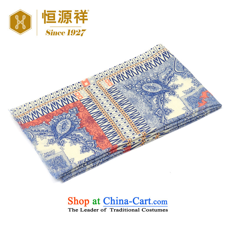 Ms. Cheung Hengyuan stamp scarf of autumn and winter 2015 new digital printing plain wool Fancy Scarf two large blue stamp.