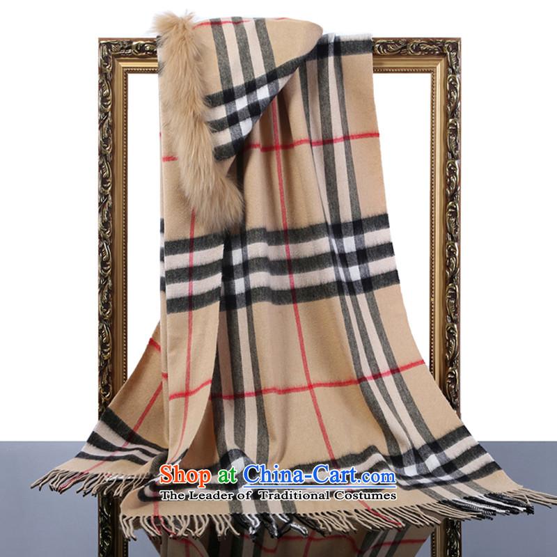 Hang Yuen Cheung-wool Lamb Wool Velvet shawl forever sub gross latticed gift boxed brown
