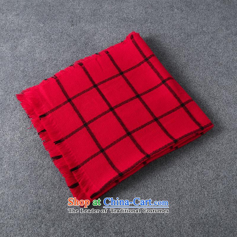 Making Thai autumn and winter, black and white checkered shawl Sleek and versatile female couple of black and white checkered scarf thick, Fancy Scarf4313scarf shawl female Red